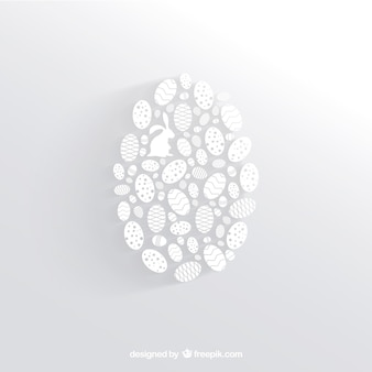 Biały easter egg z małych jaj sylwetki