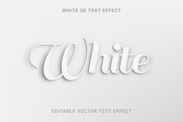 Biały edytowalny efekt tekstu wektorowego 3d