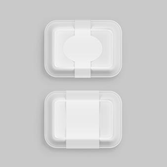 Biały fast food box pojemnik opakowanie opakowanie opakowanie opakowanie na tle