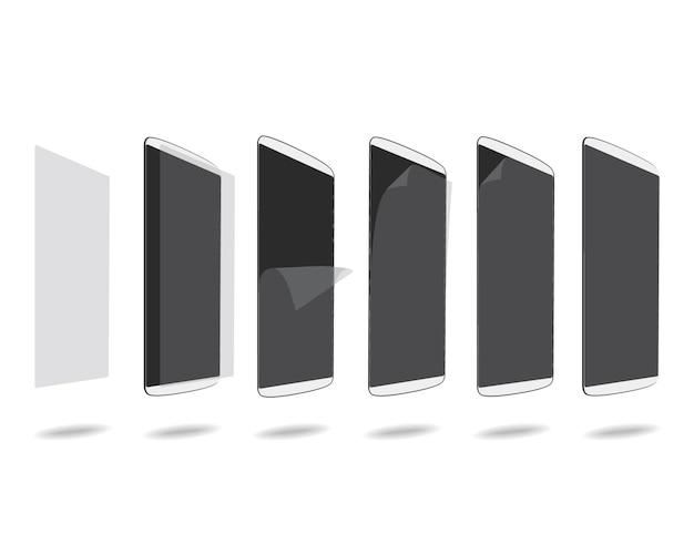 Biały film ochronny na smartfony ustawia różne kroki