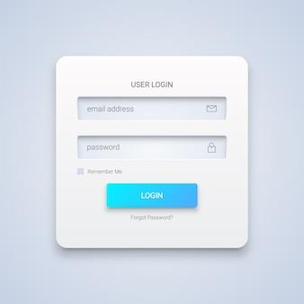 Biały formularz logowania użytkownika 3d