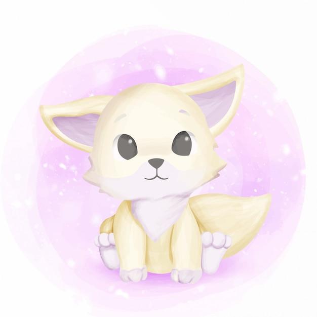 Biały foxy baby uroczy i uroczy
