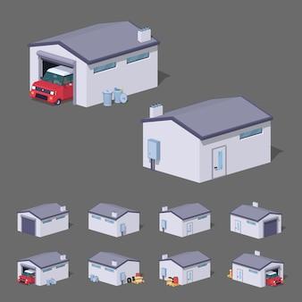 Biały garaż izometryczny lowpoly 3d