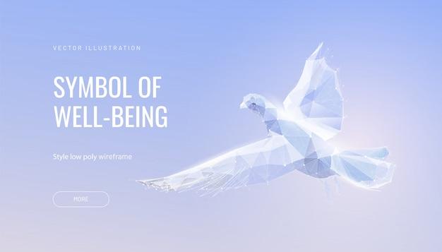 Biały gołąb na niebie. pojęcie pokoju, wolności i nadziei