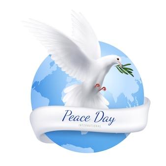 Biały gołąb na światowy dzień pokoju
