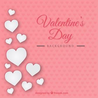 Biały harts valentine dni tle