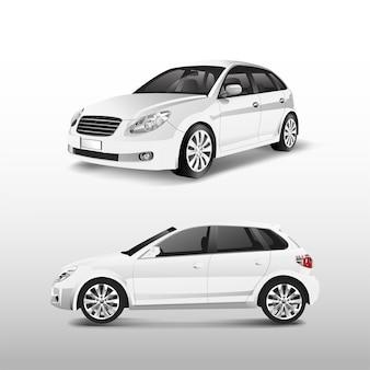 Biały hatchback samochód odizolowywający na białym wektorze