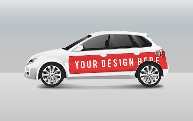 Biały hatchback samochód szablon wektor dla projektu