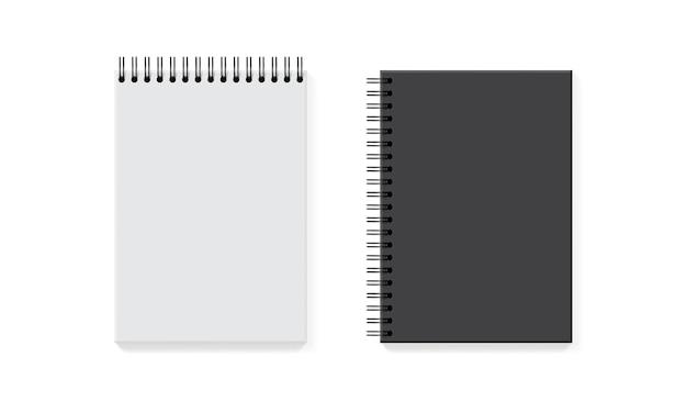 Biały i czarny notebook na białym tle