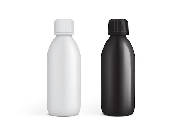 Biały i czarny plastikowy słoik na leki na białym tle
