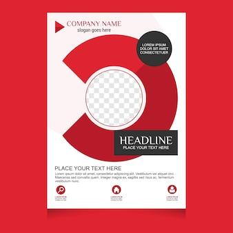 Biały i czerwony projekt ulotki broszury szablon układu