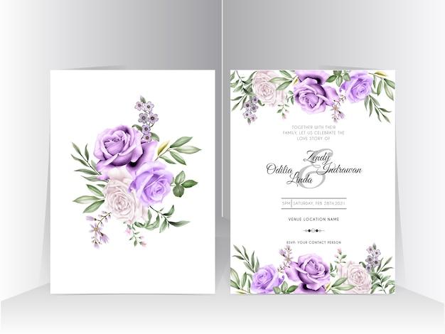 Biały i fioletowy ręcznie rysowane szablon zaproszenia ślubne róża