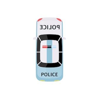 Biały i jasnoniebieski samochód policyjny - widok z góry pojazdu organów ścigania z syreną na dachu, transport retro na białym tle, płaska kreskówka