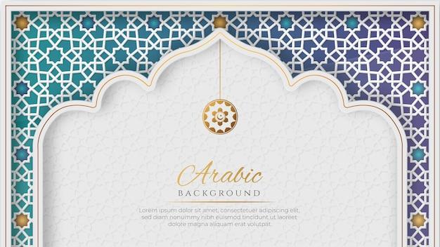 Biały i niebieski luksusowy islamski łuk tło z ozdobnym wzorem ornamentu