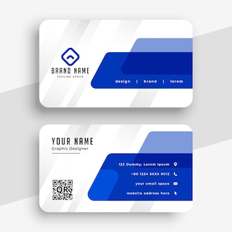 Biały i niebieski profesjonalny szablon wizytówki