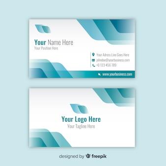 Biały i niebieski szablon wizytówki z logo