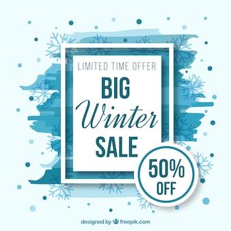 Biały i niebieski zimowe tło sprzedaży
