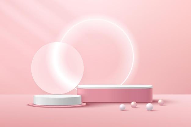 Biały i różowy cylinder z podestem jasnoróżowa scena ścienna różowo-biała kula