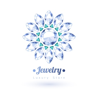 Biały i zielony symbol biżuterii kamieni szlachetnych. kształt gwiazdy lub kwiatu. szmaragdy i diamenty na białym tle.