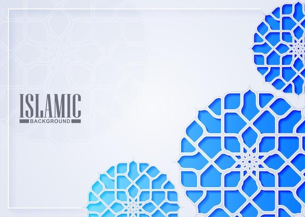 Biały islamski wzór tła ramki