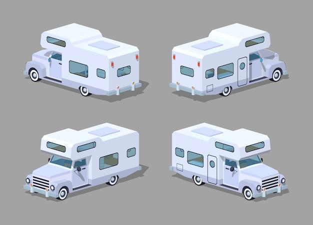 Biały izometryczny samochód kempingowy 3d