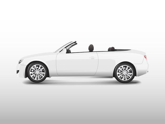 Biały kabriolet odizolowywający na białym wektorze