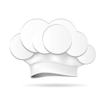 Biały kapelusz szefa kuchni na białym tle