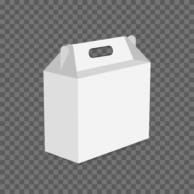 Biały karton lunch box wektor na przezroczystym tle.