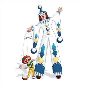 Biały klaun pierrot z czerwoną kukiełkową kukłą.