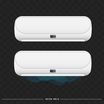 Biały klimatyzator emituje zimno 3d. realistyczny klimatyzator wektor.