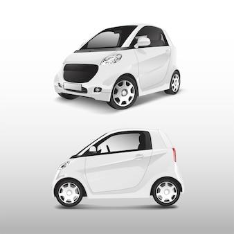 Biały kompaktowy samochód hybrydowy wektor