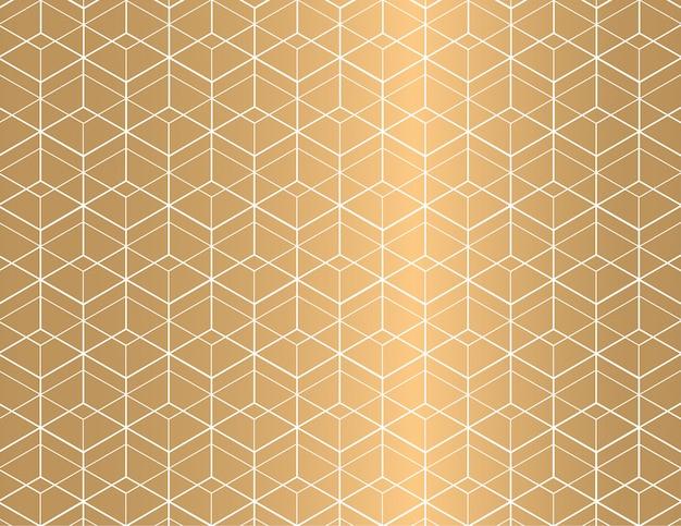 Biały kontur geometryczny wzór na złotym tle.