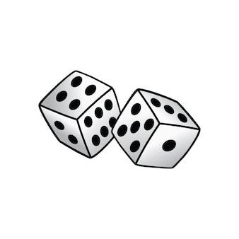 Biały kostka do gry ryzyko zabrać hazard wektor sztuki ilustracji