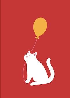 Biały kot trzymający balon łapami. ładny charakter na czerwonym tle, projekt karty z pozdrowieniami, wektor iilustration.