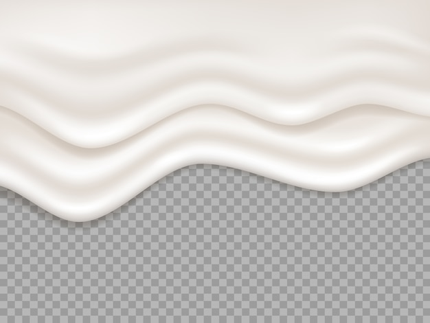 Biały krem. kremowy płyn mleczny, plusk jogurtu. kapiąca pianka, deser topi się płynące ilustracja na białym tle. kremowy płyn, kremowe białe tło powitalny