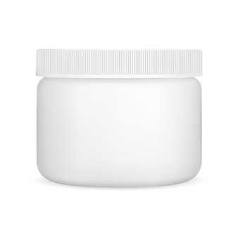 Biały kremowy słoik, plastikowy pojemnik kosmetyczny wektor