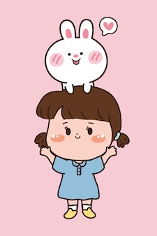 Biały królik i dziewczyna. ładny projekt postaci z kreskówki