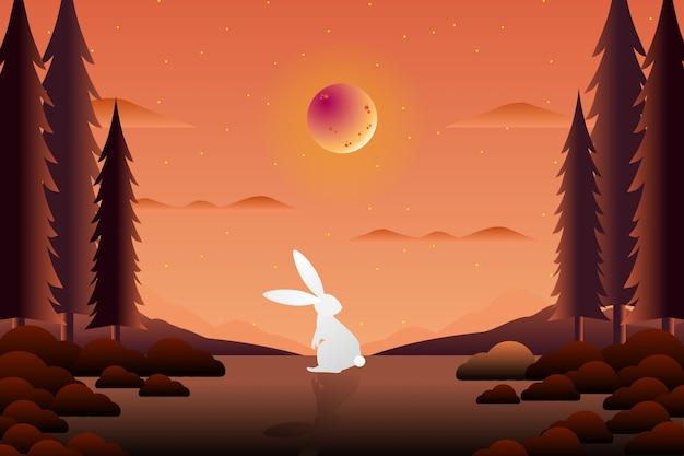 Biały królik na wolności