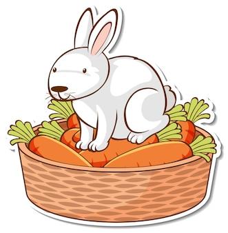 Biały królik siedzący na naklejce z koszem warzyw