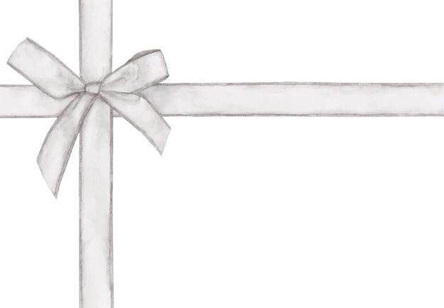 Biały krzyż wstążka z kokardą. akwarela.