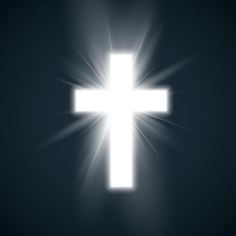 Biały krzyż z blaskiem symbolem chrześcijaństwa. święty krzyż