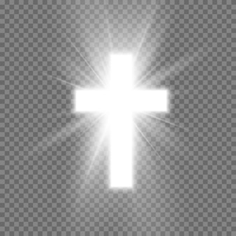 Biały krzyż z blaskiem symbolem chrześcijaństwa.