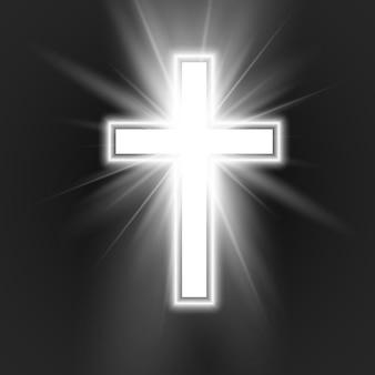 Biały krzyż z ramą i blaskiem symbol chrześcijaństwa.