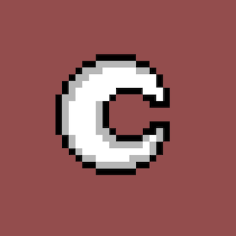 Biały księżyc w stylu pixel art