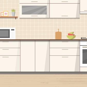 Biały kuchenny wewnętrzny tło z meble i kuchenką