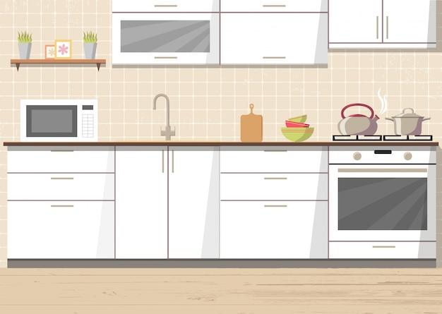 Biały kuchenny wewnętrzny tło z meble