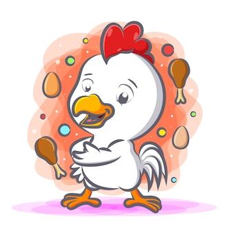 Biały kurczak, a wokół niego smażony kurczak i jajka