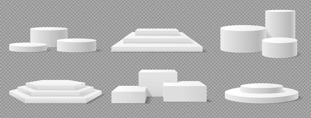 Biały kwadratowy okrągły cokół w kształcie kwadratu stoisko realistyczne puste platformy zwycięzcy etap makiety 3d