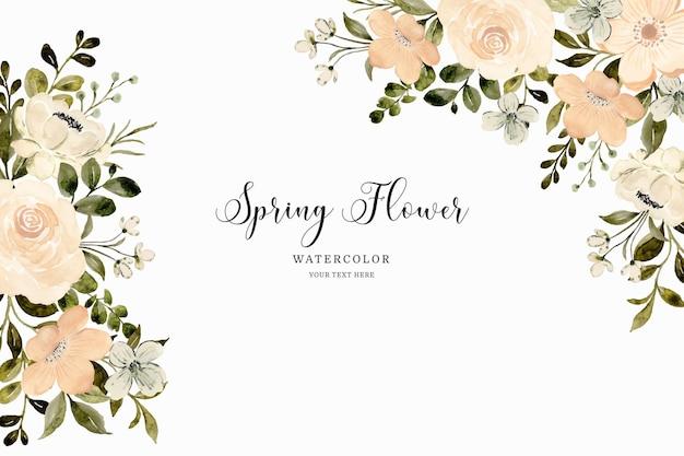 Biały kwiat brzoskwini wiosna tło z akwarelą