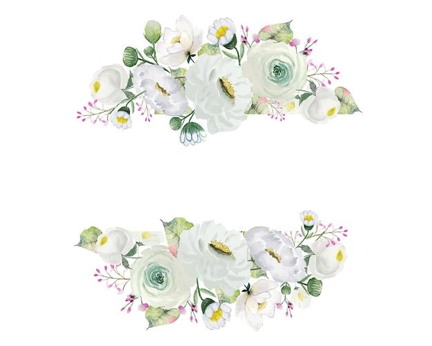 Biały kwiat i zielone liście odznaka akwarelowa dekoracja